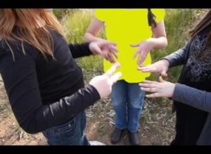 stop motion video still of scissors paper rock by Kim V Goldsmith