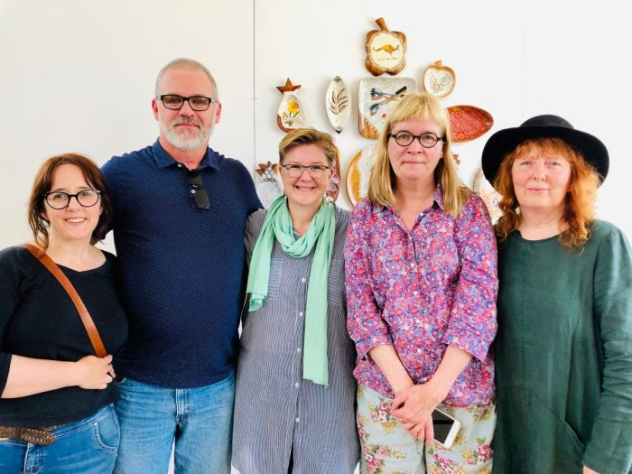 Andrew Frost with artists from Here and Not Here exhibition at Cementa 2019